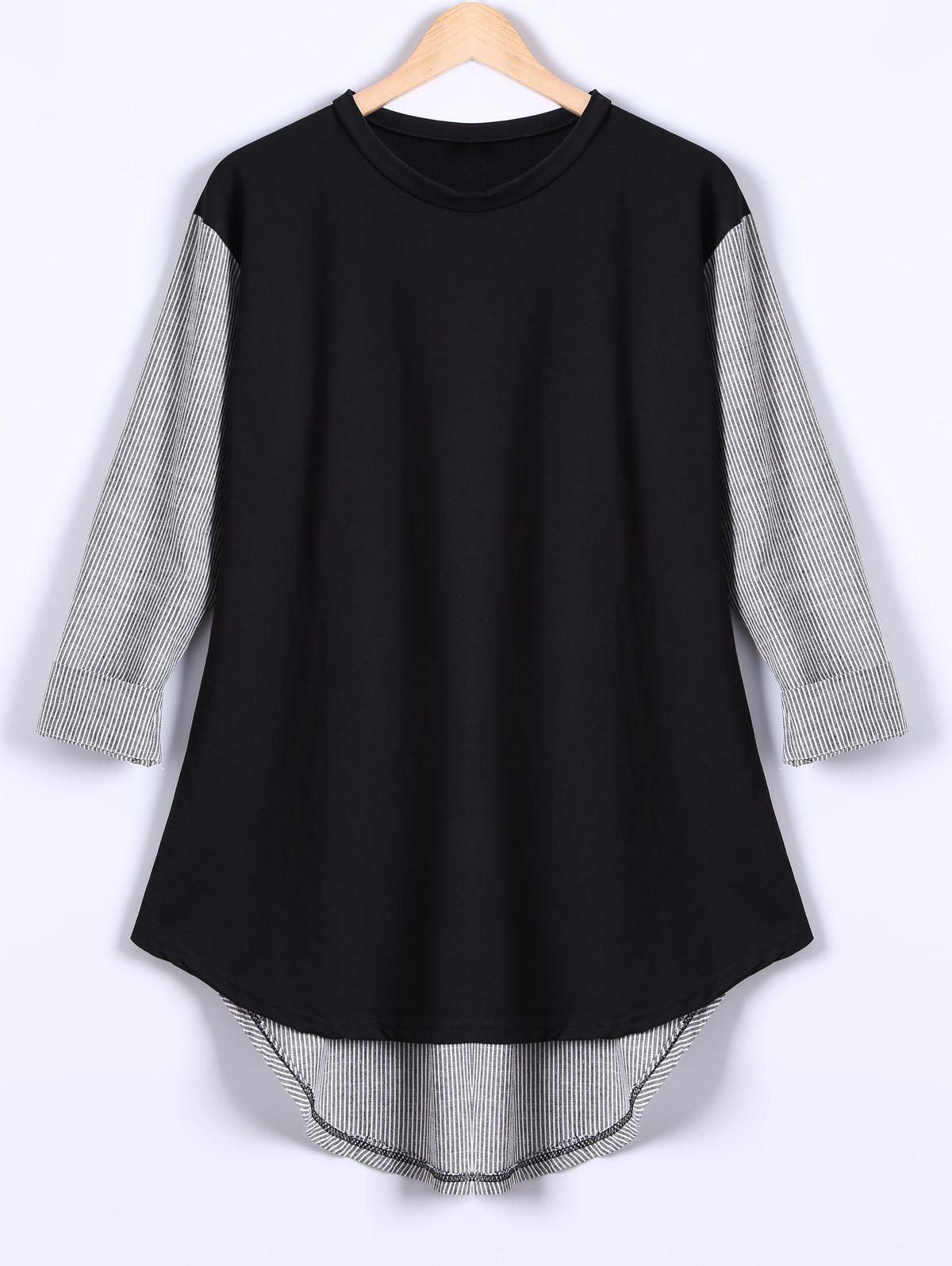 Long Sleeves High Low Patchwork T-ShirtWomen<br><br><br>Size: XL<br>Color: BLACK