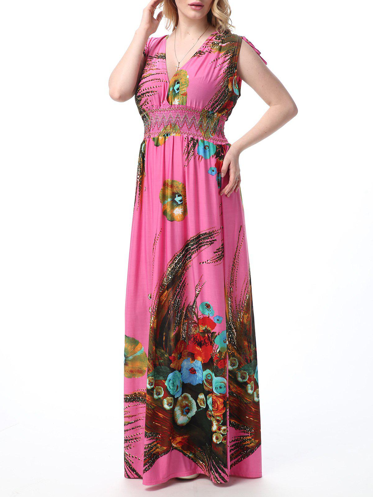 Floral Print Empire Waist Floor Length Boho Dress - PINK 5XL