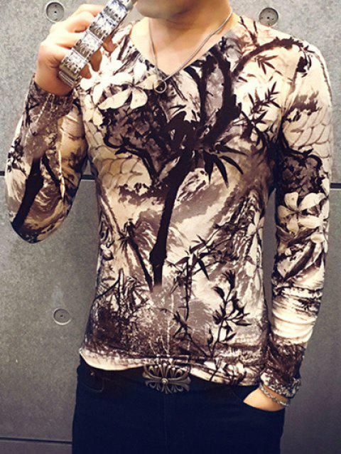 V-Neck Long Sleeve Ink-Bamboo Print Tee For Men - COLORMIX XL