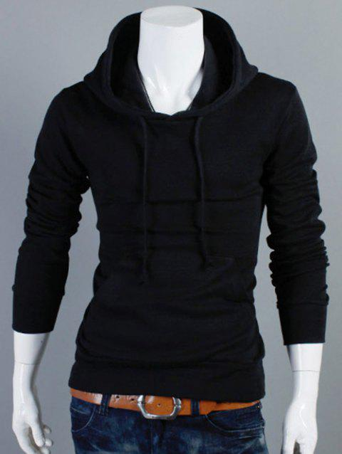 Drawstring Kangaroo Pocket Plain Pullover Hoodie - BLACK L