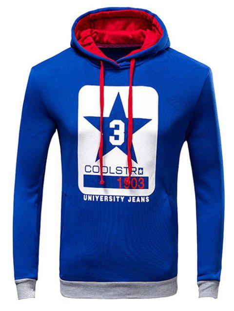 Drawstring Letter Print Pullover Hoodie - BLUE L