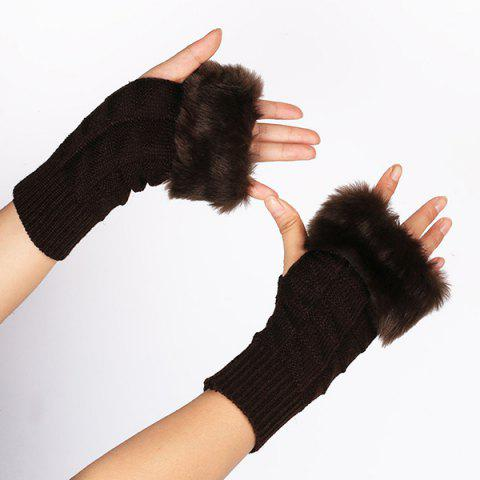 Faux Fur Plaid Knit Fingerless Gloves - DARK COFFEE