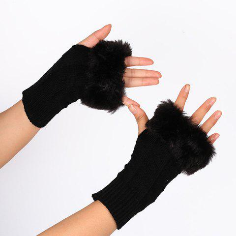 Faux Fur Plaid Knit Fingerless Gloves - BLACK
