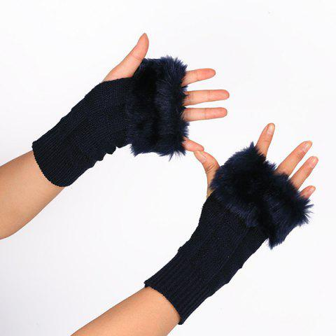 Faux Fur Plaid Knit Fingerless Gloves - PURPLISH BLUE