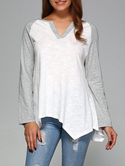 Raglan Sleeve Asymmetrical T-Shirt - GREY/WHITE L
