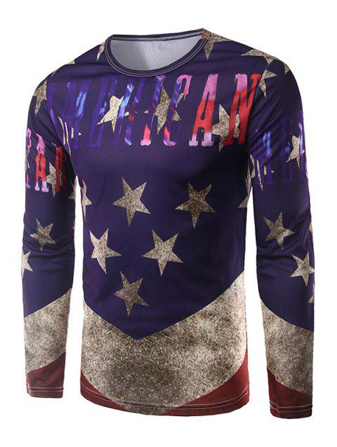 Round Neck Five-Point Star Print T-Shirt - PURPLE M