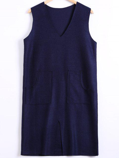 Slit Double Pocket Sweater Dress - PURPLISH BLUE ONE SIZE