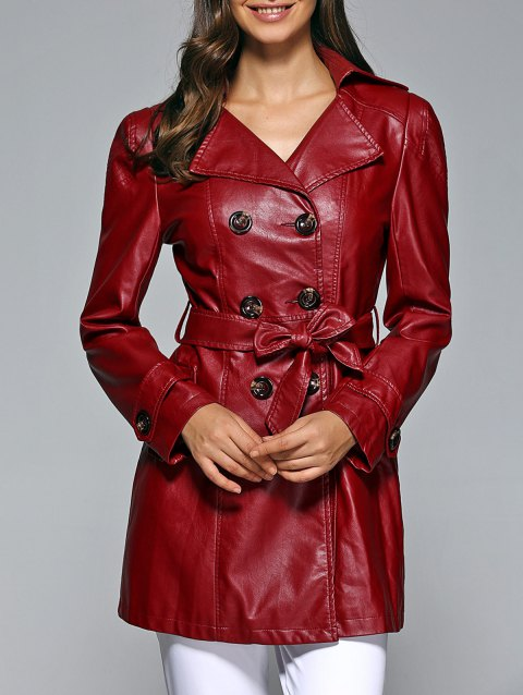Self-Tie Button Up Faux Leather Coat - WINE RED L