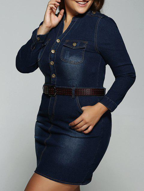 4ae277f4e0 LIMITED OFFER  2019 Plus Size Belted Fitted Jeans Long Sleeve Shirt ...