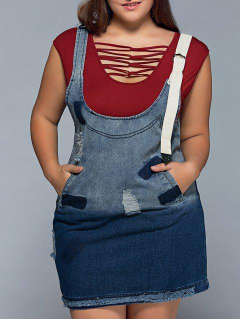 41% OFF] 2019 Ripped Denim Plus Size Pinafore Dress In BLUE 4XL ...