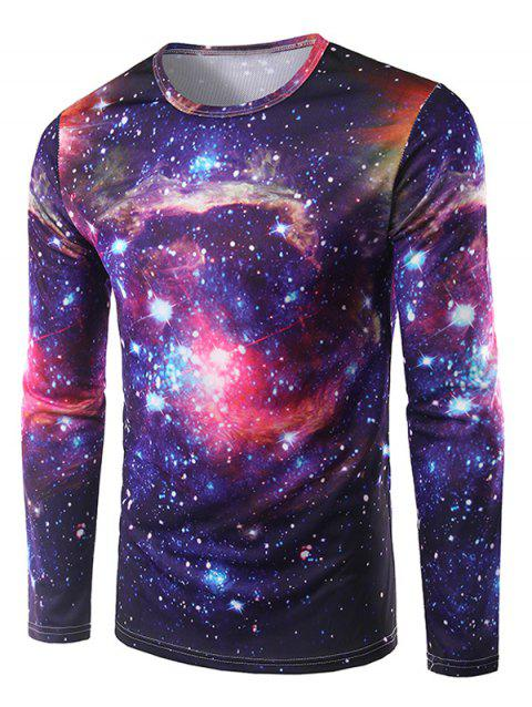 3D Print Long Sleeve Galaxy T-Shirt - DEEP PURPLE L