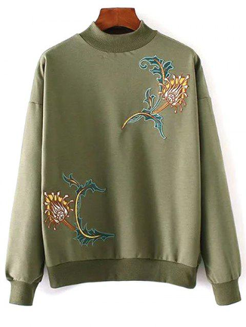Embroidered High Neck Sweatshirt - ARMY GREEN ONE SIZE
