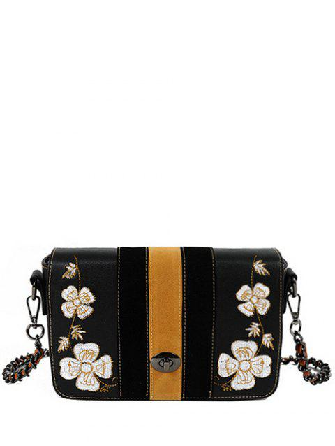 Embroidery Striped Pattern Flower Crossbody Bag - BLACK