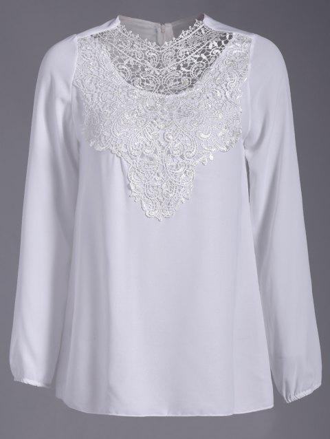Hollow Out Round Neck Lace Splicing Mini Dress - WHITE M