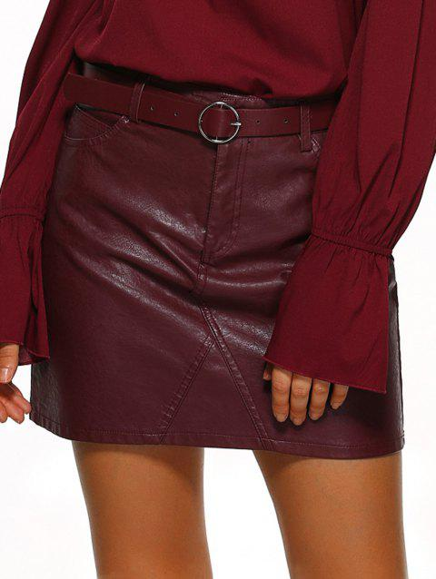 Pockets Design Belted Leather Mini Skirt - WINE RED S