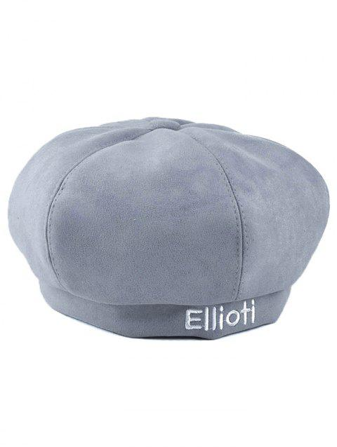 Winter Letter Embroidery Faux Suede French Beret - LIGHT GRAY