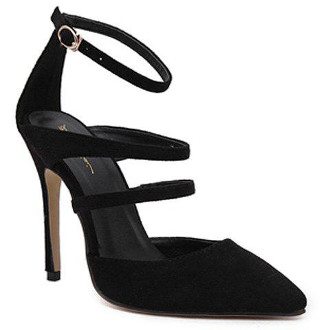 Strappy Pointed Toe Pumps - BLACK 39