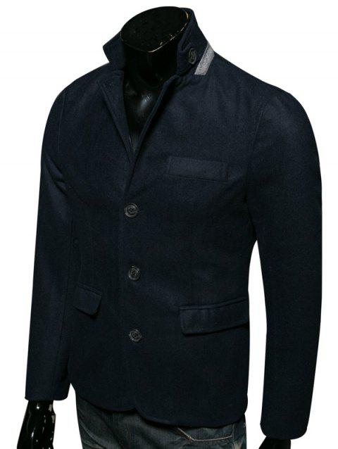 Stand Collar Edging Single-Breasted Woolen Coat - CADETBLUE XL