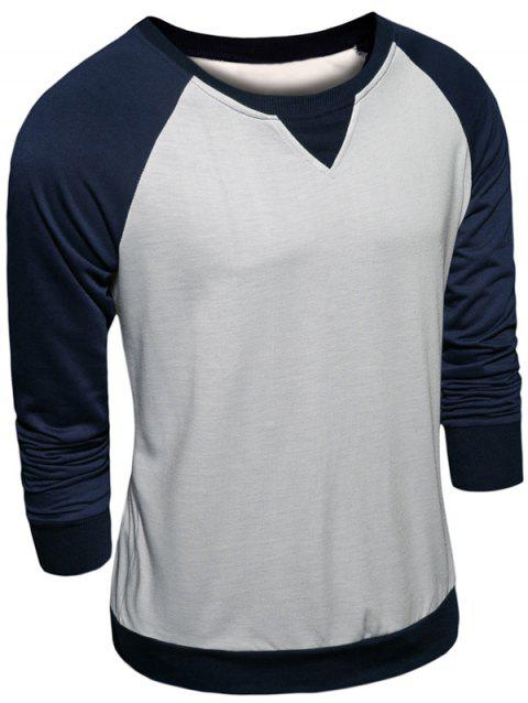 Raglan Sleeve Color Block Crew Neck Sweatshirt - CADETBLUE L
