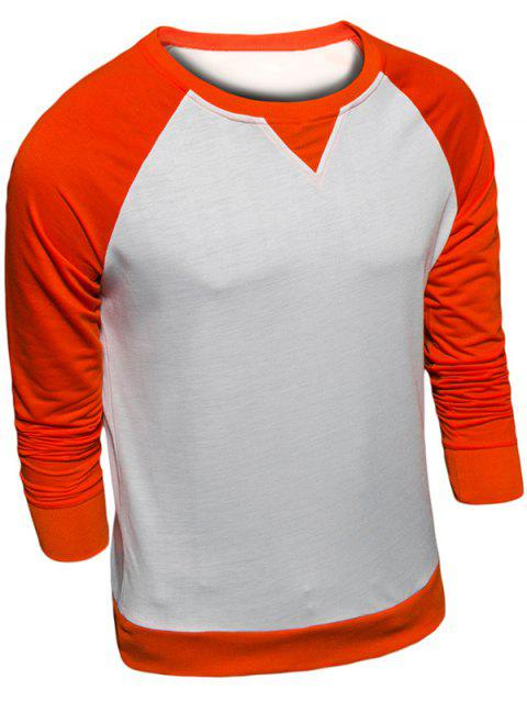 Sweat-shirt en Blocs de Couleurs Manches Raglan à Col Rond - Orange XL