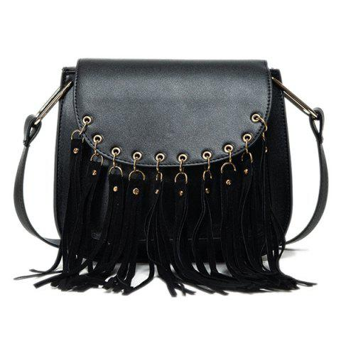 Eyelet PU Leather Fringe Bag - BLACK