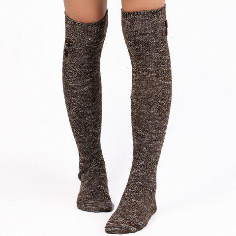 Buttons Snowflake Point Knit Stockings - COFFEE