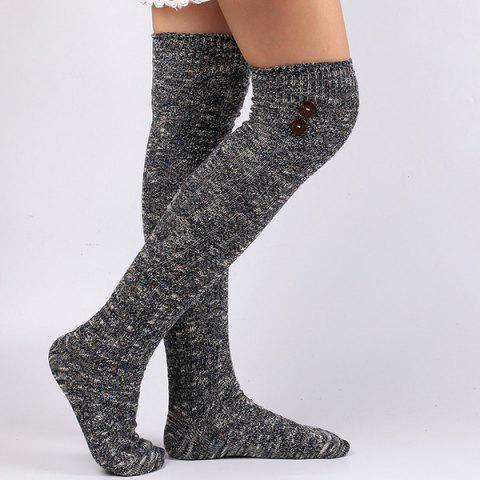 Buttons Snowflake Point Knit Stockings - DEEP BLUE