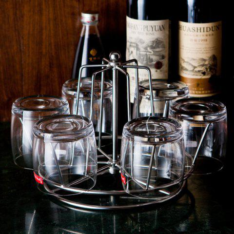 6 Water Glasses Stainless Steel Rotation Rack - SILVER