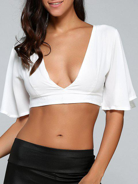 22f4087d238 74% OFF] 2019 Plunging Neck String Fitted Crop Top In WHITE | DressLily