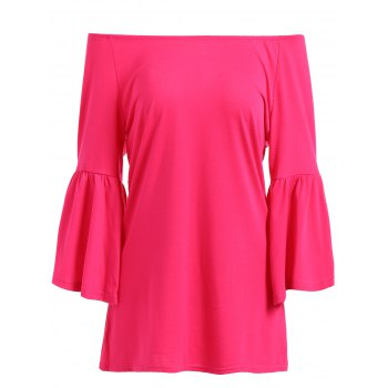 Flare Sleeve Haut Bas Blouse - Rouge Rose L