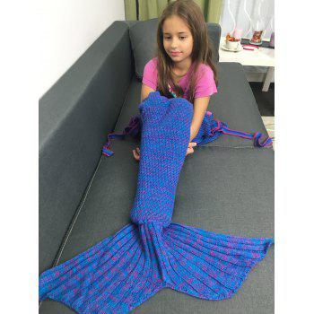 Flowers Embellished Knitted Mermaid Tail Blanket