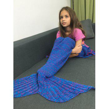 Flowers Embellished Knitted Mermaid Tail Blanket - BLUISH VIOLET