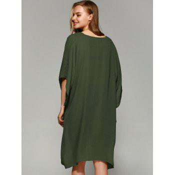 Novelty Batwing Sleeve High Low Hem Blouse - FLAX GREEN L