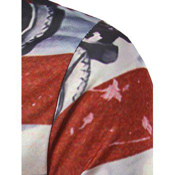 3D Print American Flag Long Sleeves T-Shirt - COLORMIX M