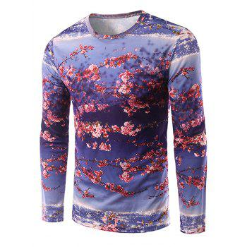 Long Sleeve Round Neck Floral 3D Print T-Shirt