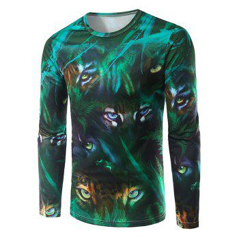 Long Sleeve Round Neck Animal Eyes 3D Print T-Shirt