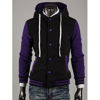 Color Block Stripe Spliced Hooded Varsity Hoodie