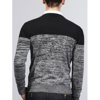 Crew Neck Knit Blends Color Block Splicing Sweater - BLACK 2XL