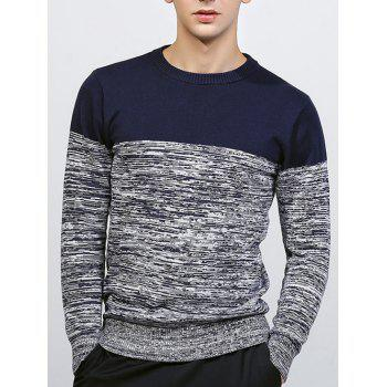 Crew Neck Knit Blends Color Block Splicing Sweater