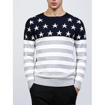 Crew Neck Knitting Star and Stripe Splicing Sweater
