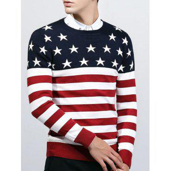 Crew Neck Knitting Star and Stripe Splicing Sweater - RED 2XL