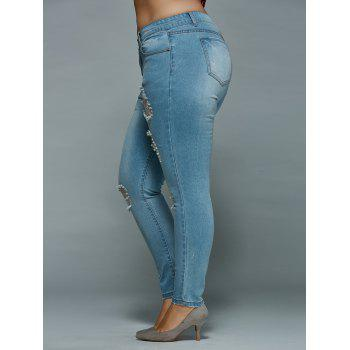 Mid Waisted Skinny Plus Size Distressed Jeans - LIGHT BLUE 2XL