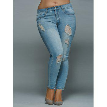 Mid Waisted Skinny Plus Size Distressed Jeans