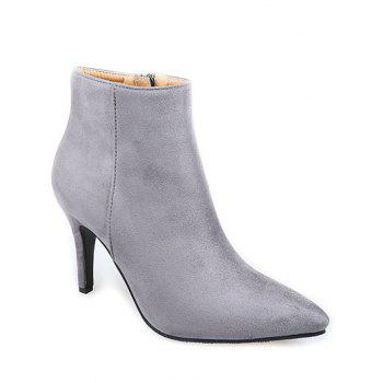Pointed Toe Stiletto Heel Flock Ankle Boots