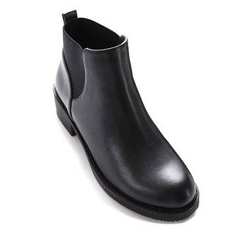 Round Toe PU Leather Elastic Ankle Boots