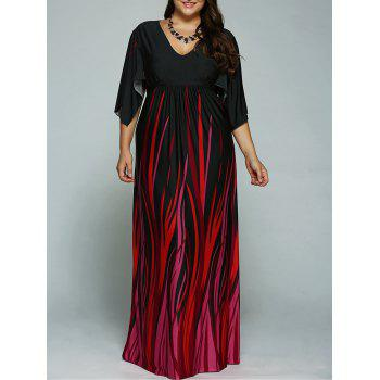 A Line Batwing Sleeves Empire Waist Printed Plus Size Formal Maxi Dress
