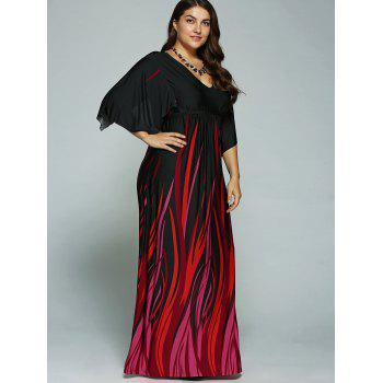 A Line Empire Waist Printed Plus Size Formal Maxi Dress with Batwing Sleeves - BLACK 3XL