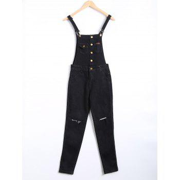 Buttoned Ripped Denim Overall Pants