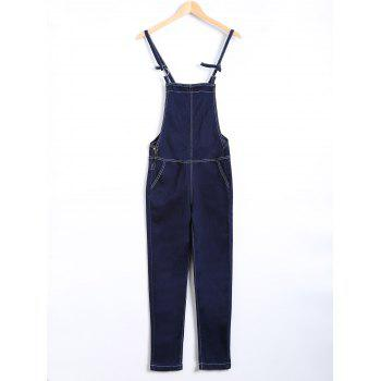 Topstitching Back Pocket Eyelet Overall Pants