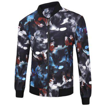 Stand Collar Zip-Up 3D Color Block Feathers Print Jacket